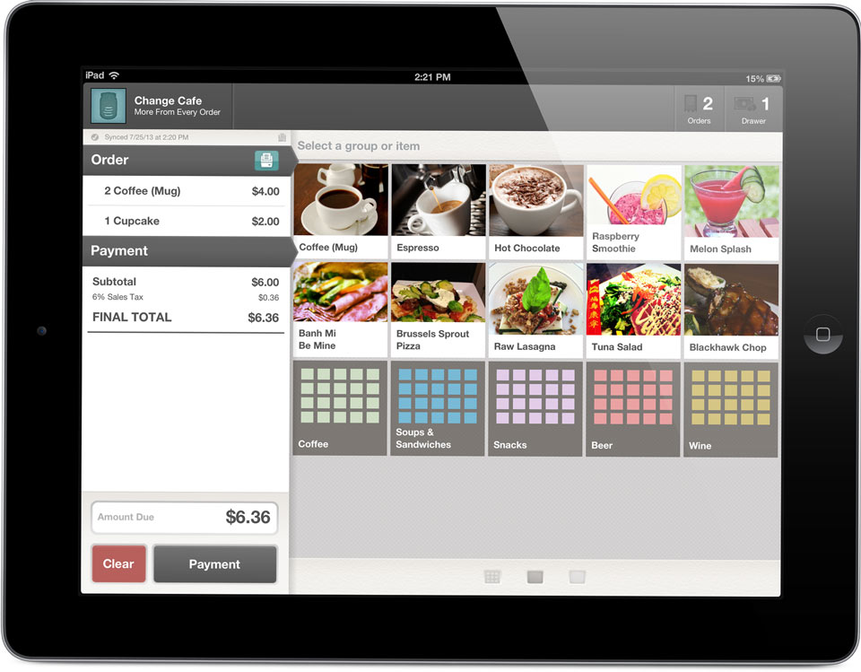 Restaurant Menu Order Screen - iPad Quick Service Restaurant POS, Bar POS, Cafe POS