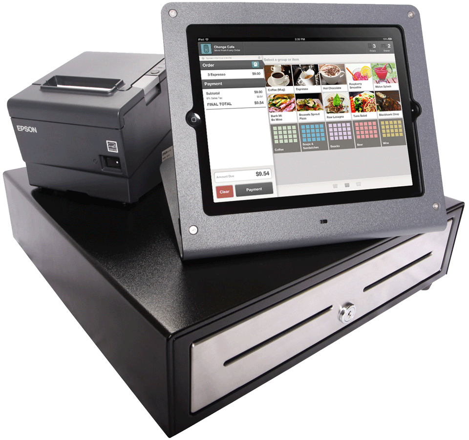 Point of Sale Terminal includes a Heckler Design Windfall iPad Stand, an APG Cash Drawer, and Epson Printer.
