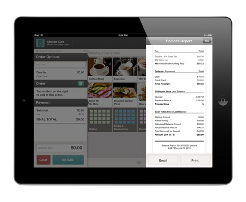 Print and Email Reports For Online Accounting From Online Dashboard iPad Point of Sale