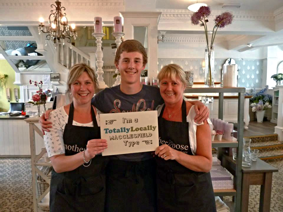 Sarah Boots, Thomas Murphy, and Nicky Randles at Mother Goose Interiors & Coffee Shop in Macclesfield, UK.