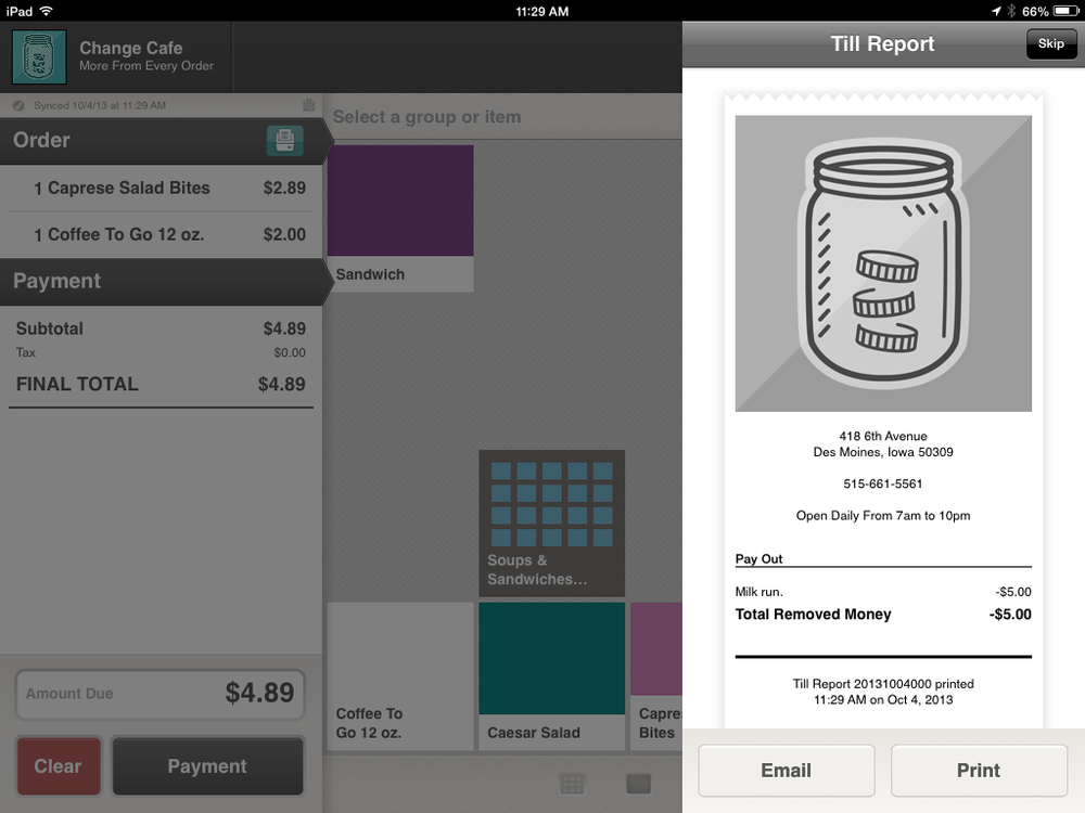 Change iPad cash register app