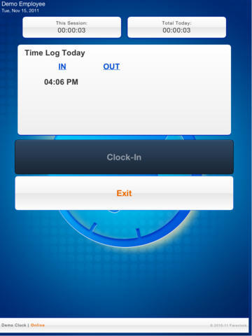 Each employee can clock IN and OUT after logging in.