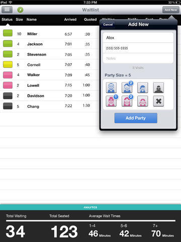 NoshList by Nosh, iPad app for waitlists.