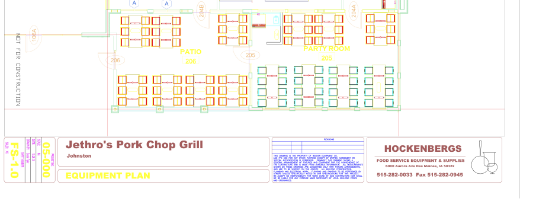 A snippet of one of Tyler's AutoCAD designs for the Des Moines-based barbecue chain, Jethro's.