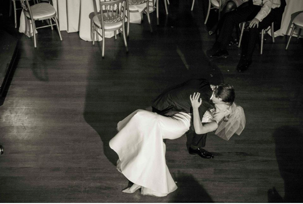 Amelia  and Peter dancing on there wedding night, the bride in custom Samantha Sleeper Couture