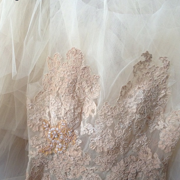 Hand dyed and beaded gown detail, custom collection