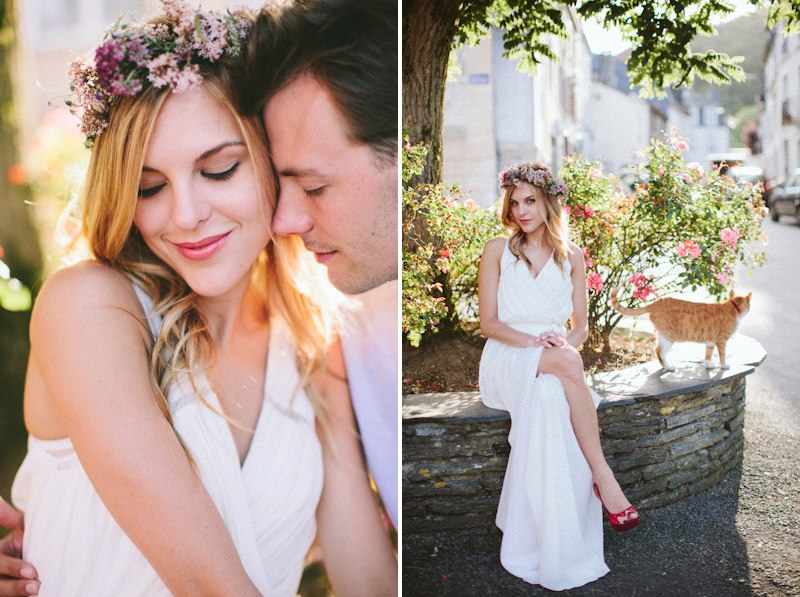 Chloe and Jordan engagement session, Chloe wears the Xenia gown in true white, Bridal Collection and our floral crown, Custom Collection