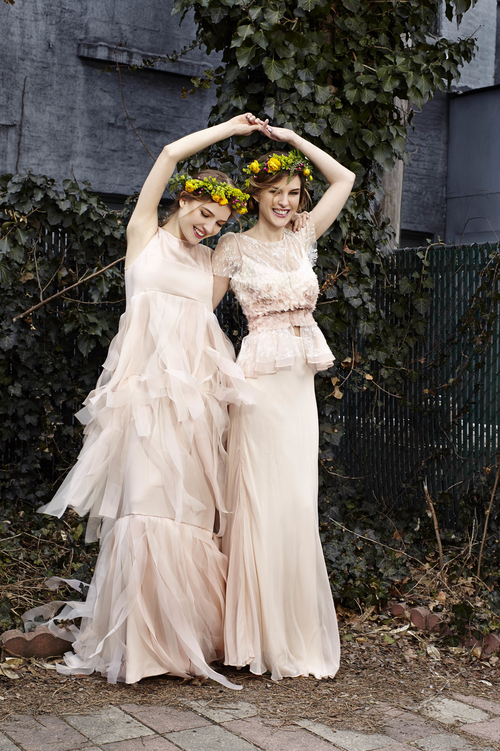 Left, CoCo gown in Blush Right, Pascale top and skirt in Blush, both Bridal Collection