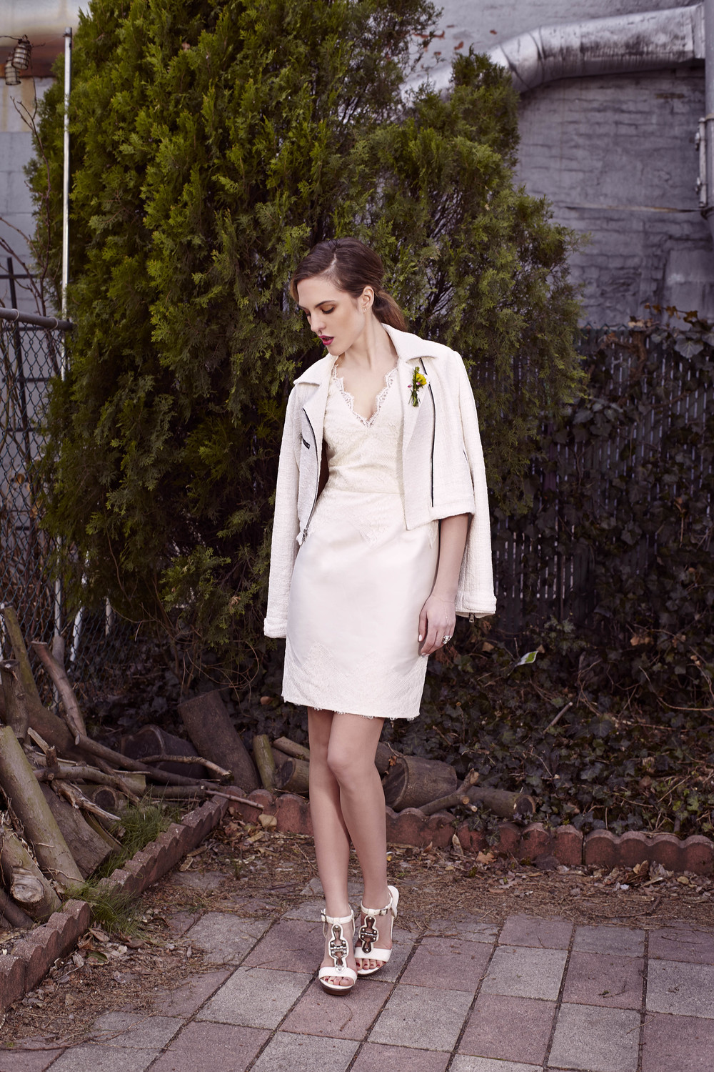 Wulfina Moto Jacket over Tilda dress, Bridal Collection
