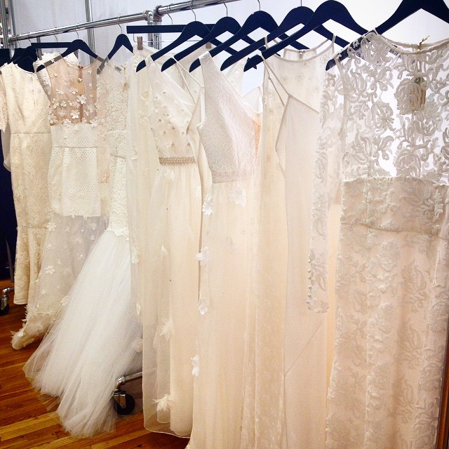 Samantha Sleeper Gowns Hang at the Knot's Couture Show during New York Bridal Fashion Week