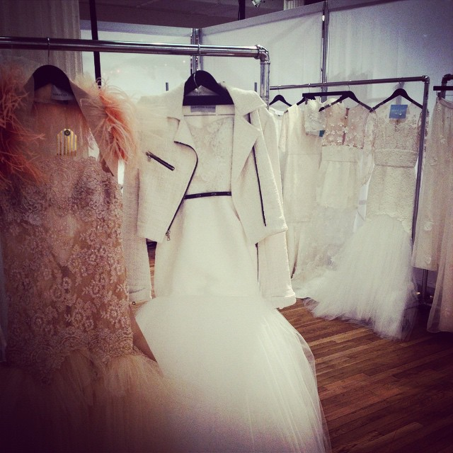 Hand dyed and beaded lace next to another look from Samantha Sleeper Bridal Collection