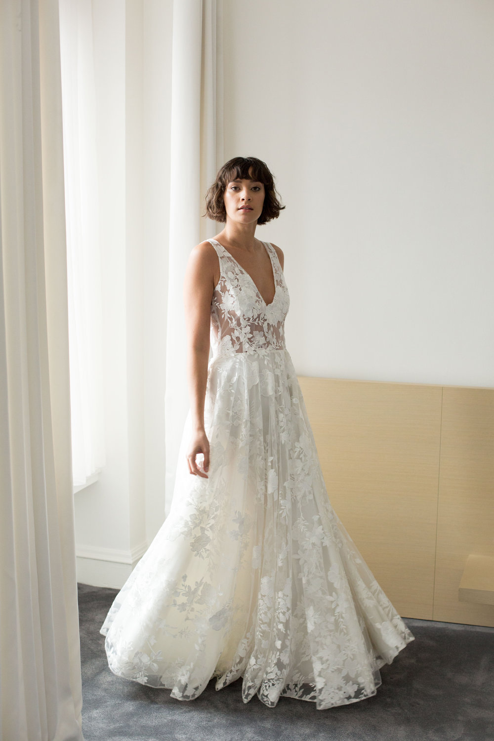 Amelia Gown, machine embroidered floral pattern on tulle with hand appliqué bodice