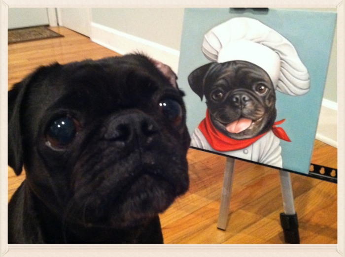 "Model: Luigi with his portrait ""Chef Luigi"""
