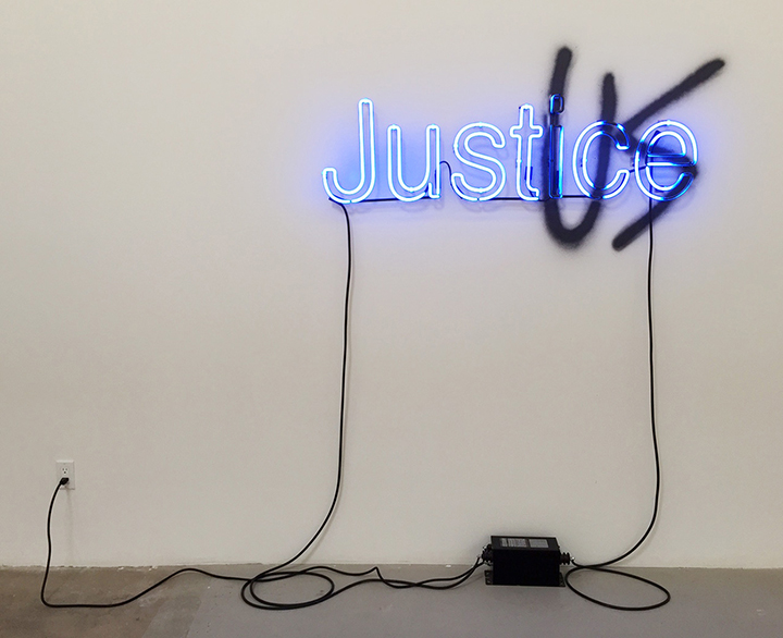 Interest of the Strong (Thrasymachus), 2015, Spray paint, neon, transformer, 30 x 52 inches
