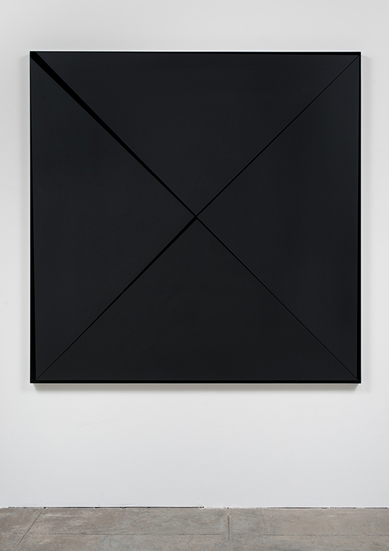 Death Marks the Spot (Murdered Out), 2014, Acrylic on automotive paint on wood panel, 60 x 60 x 1 3/4 inches