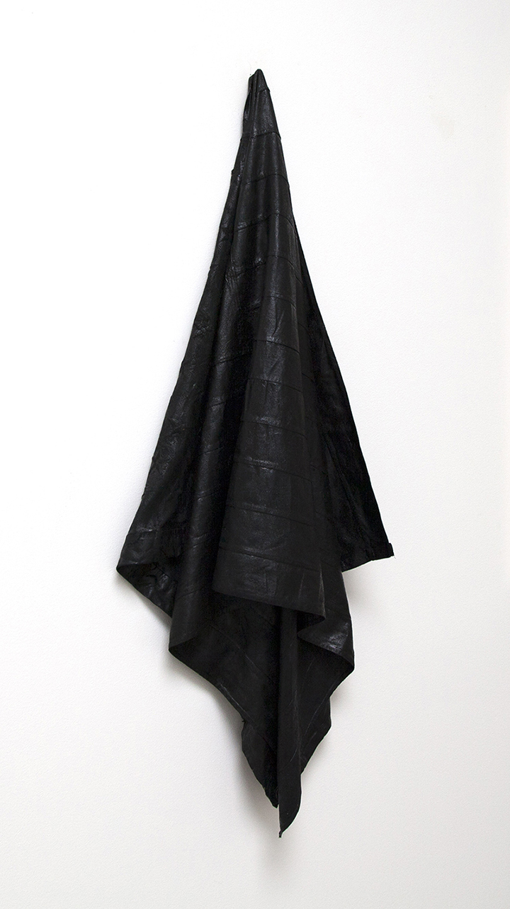 Redacted Rag , 2015, Found flag, oil paint, 46 x 19 x 8 inches