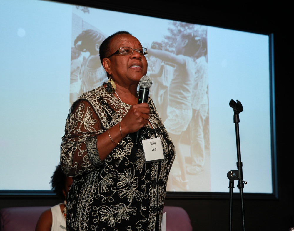 Enid Lee speaking at 25 Live: Teaching for Change Celebration. Photo by Rick Reinhard.
