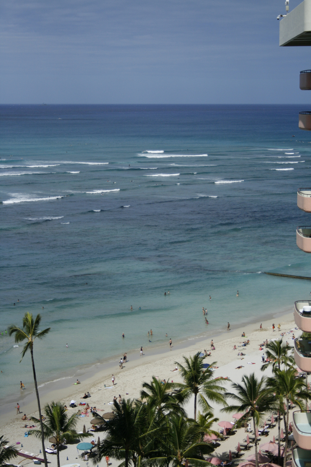 The View from our 15th floor room at the Outrigger Waikiki on the Beach.