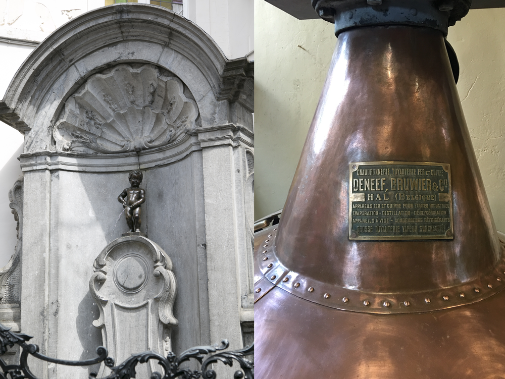 Manneken Pis and some equipment at the over 100 year old Cantillon Brewery