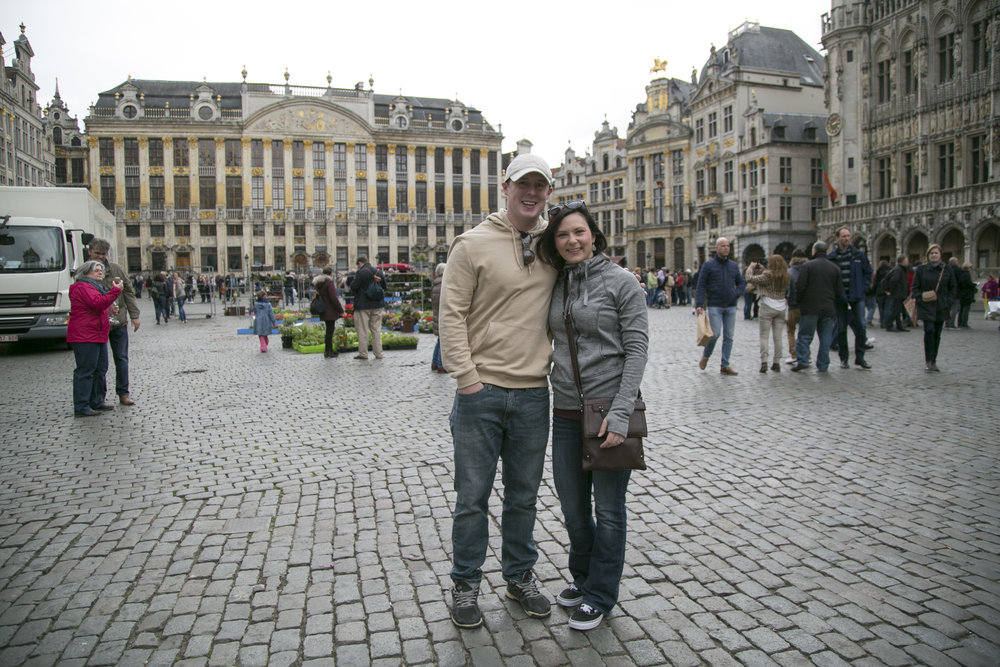 "Ryan and I in the ever beautiful and picturesque ""De Grote Markt"""