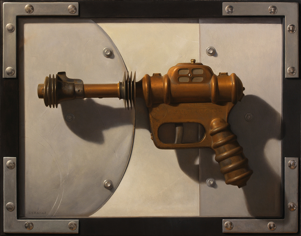 """Atomic Disintegrator! Homage to Buck Rogers"", oil on canvas, 11x14"""