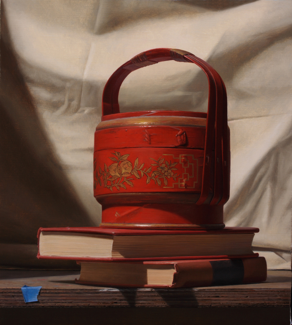 """Red Tea Basket with Books"", oil on canvas, 11x10"""