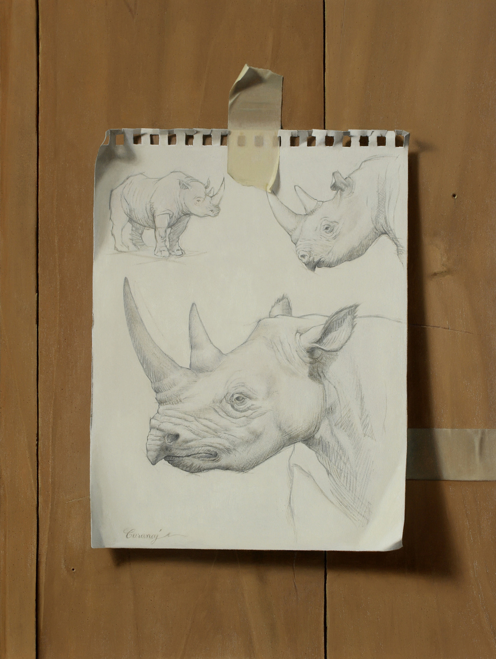 """Sketchbook Rhinos"", oil on panel, 12x9"""