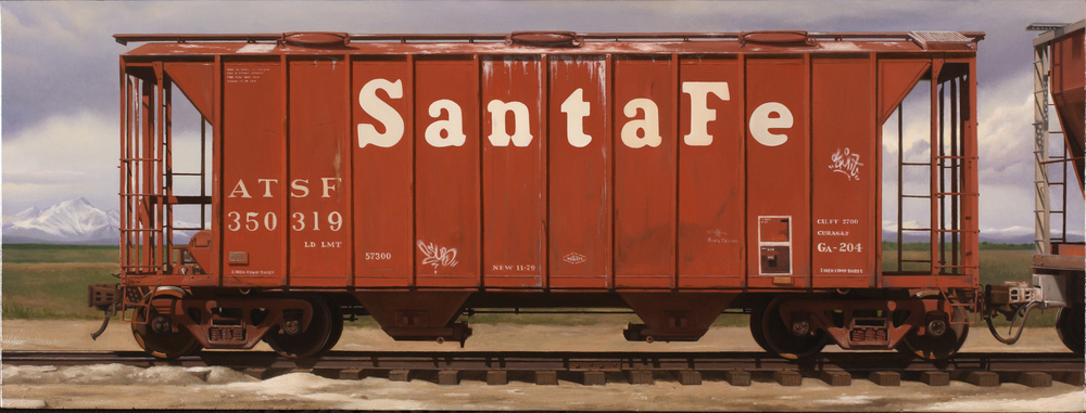 """Santa Fe Hopper"", oil on canvas, 6x16"""