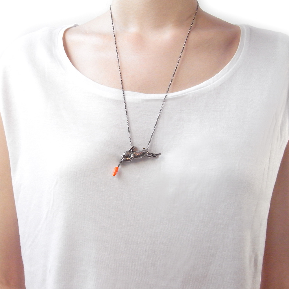 Momocreatura: Eat And Vomit (Rabbit & Carrot) Necklace | Jewelry > Necklaces -  Hiphunters Shop