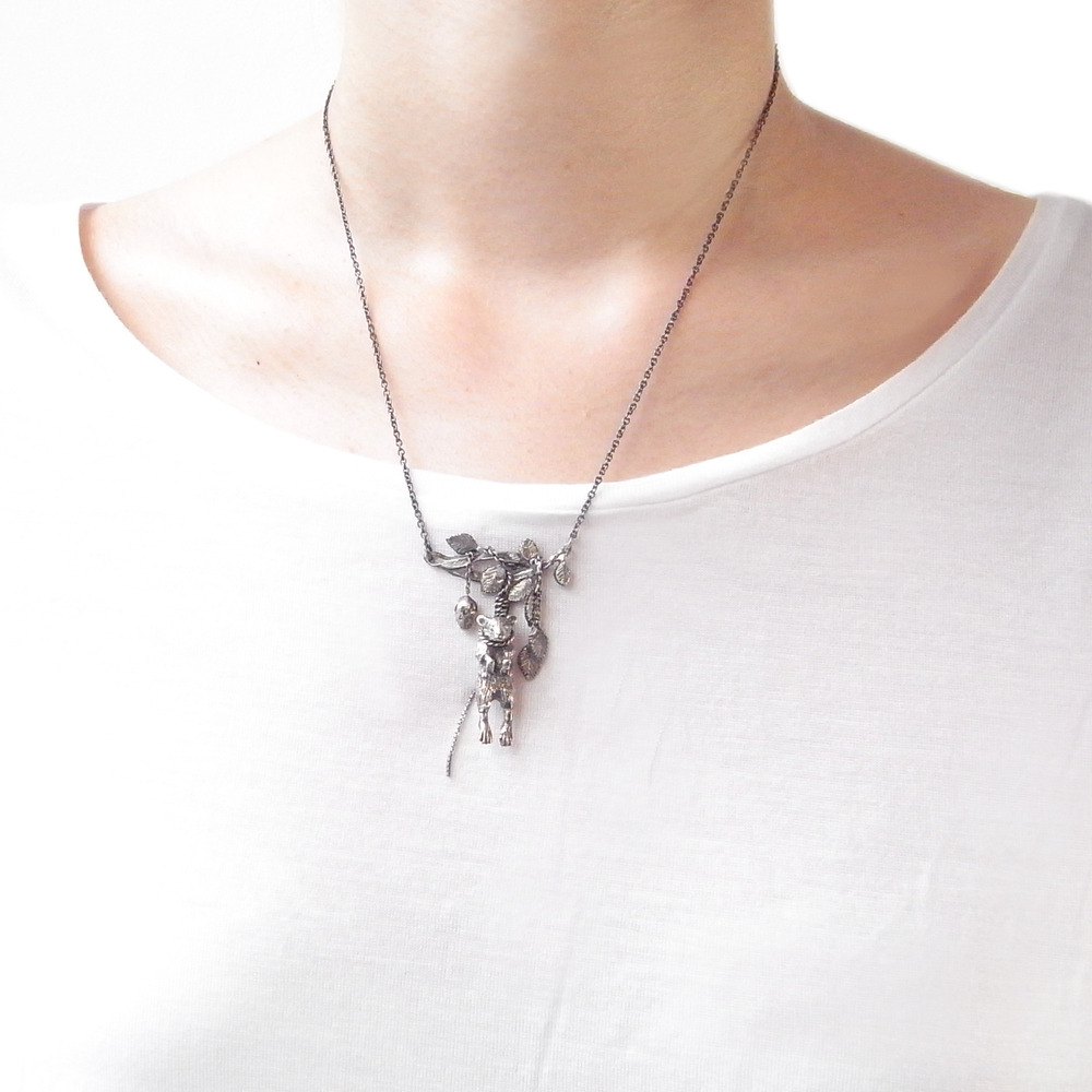 Momocreatura: Mouse With Twig Necklace | Jewelry > Necklaces -  Hiphunters Shop