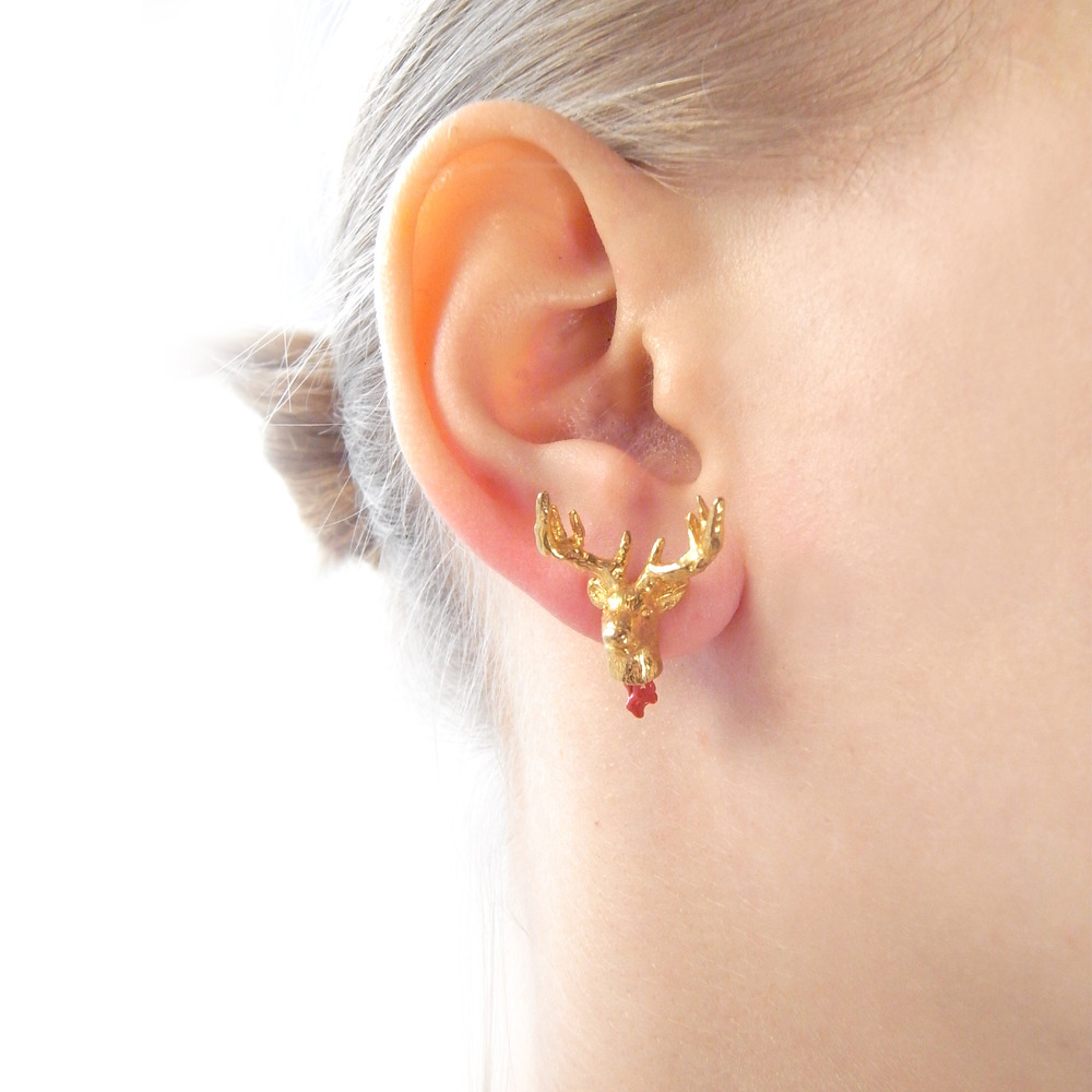 Momocreatura: Head Off Stag And Axe Earrings | Jewelry > Earrings -  Hiphunters Shop