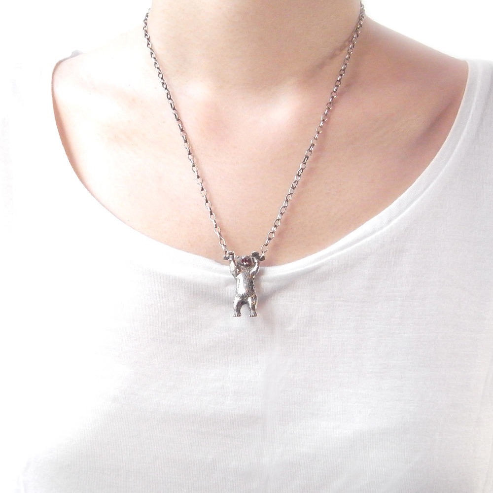 Momocreatura: Handcuffed Bear Necklace Silver | Jewelry > Necklaces -  Hiphunters Shop