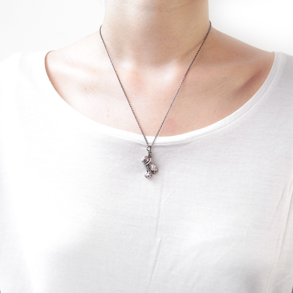 Momocreatura: Hanging Owl Pendant | Jewelry > Necklaces -  Hiphunters Shop