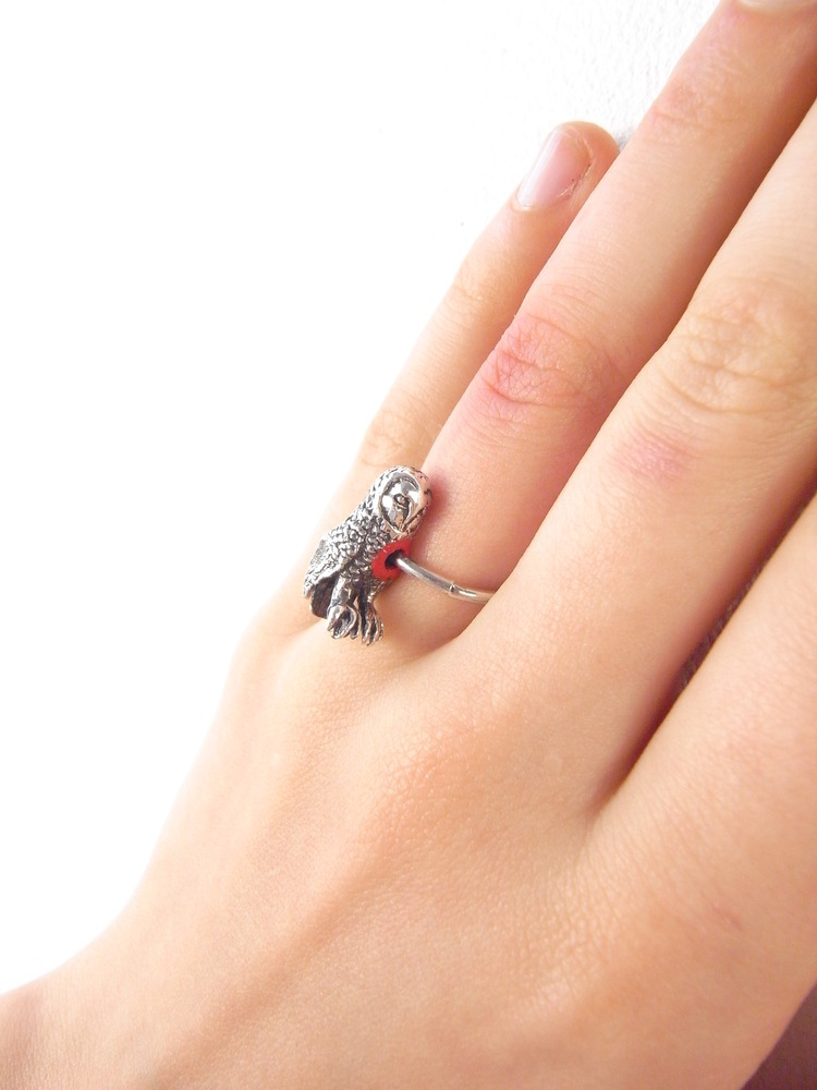 Momocreatura: Hole In Heart Owl Ring | Jewelry > Rings -  Hiphunters Shop