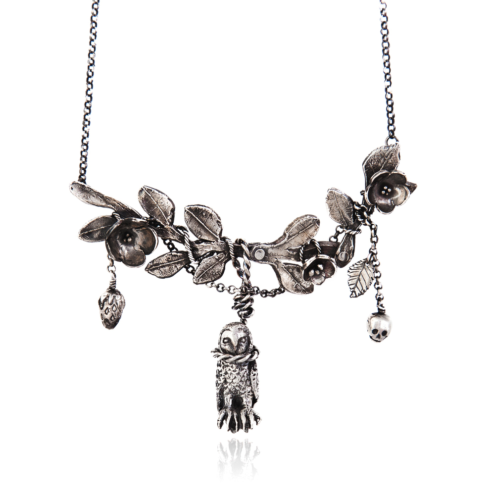 Momocreatura: Hanging Owl With Twig Necklace | Jewelry > Necklaces -  Hiphunters Shop