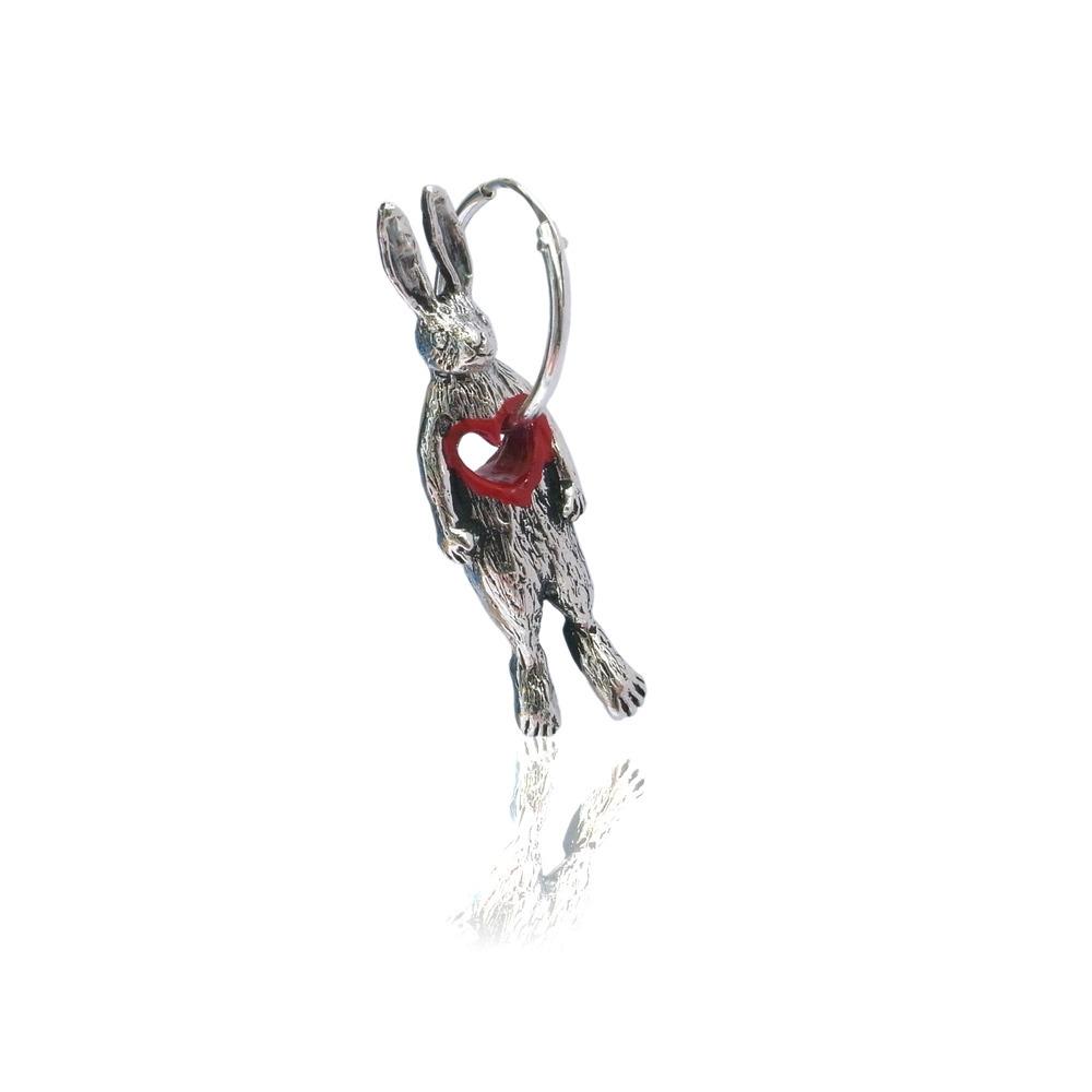 Stolen heart rabbit hoop earring (single)