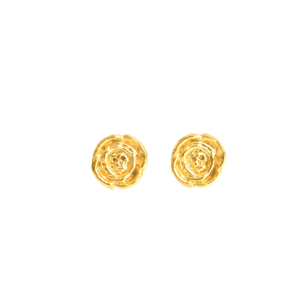 Baby Skull In Rose Earrings Gold