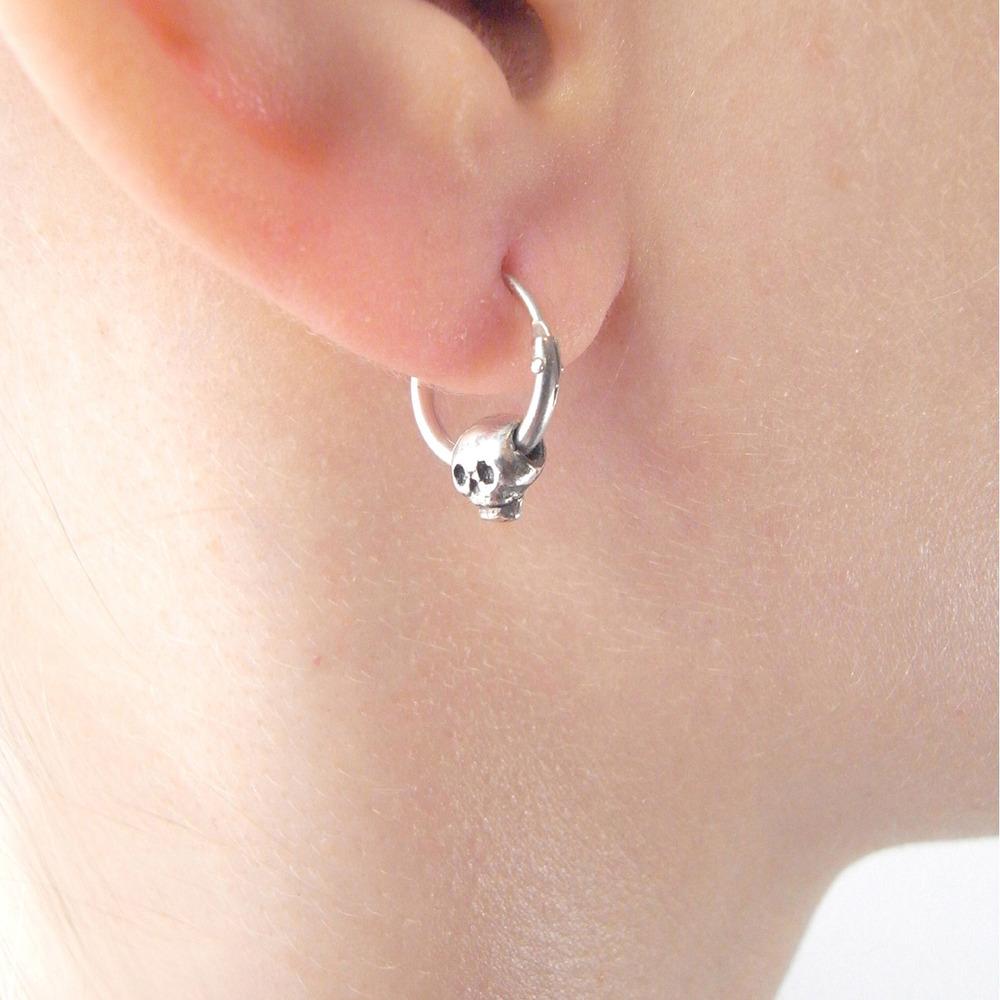 Momocreatura: Baby Skull Hoop Earrings Silver | Jewelry > Earrings -  Hiphunters Shop