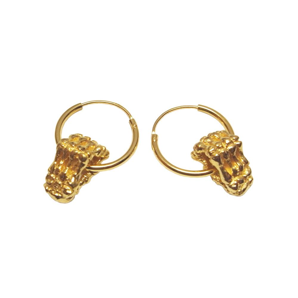 Skeleton Hands Hoop Earrings Gold