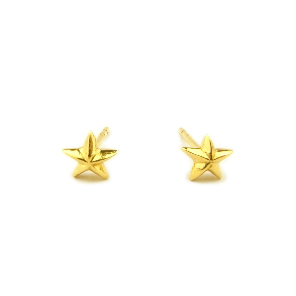 Tiny Star Stud Earrings Yellow Gold