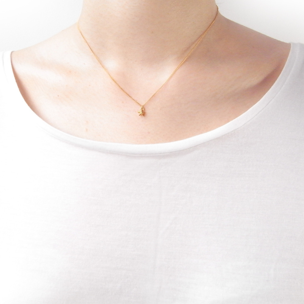 Momocreatura: Tiny Star Necklace 22ct Gold Vermeil | Jewelry > Necklaces -  Hiphunters Shop