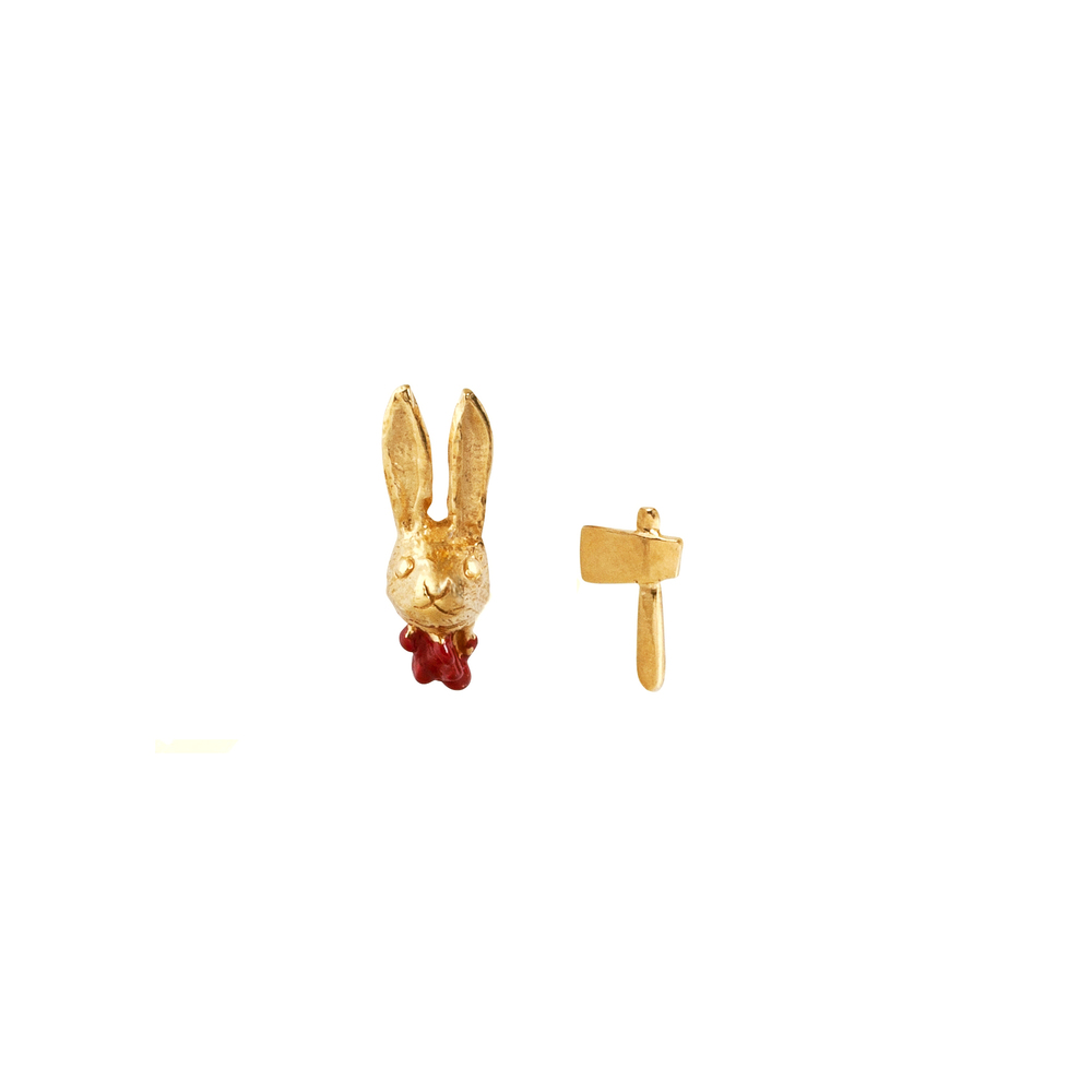 Momocreatura: Head Off Rabbit And Axe Earrings Gold - Hiphunters Shop
