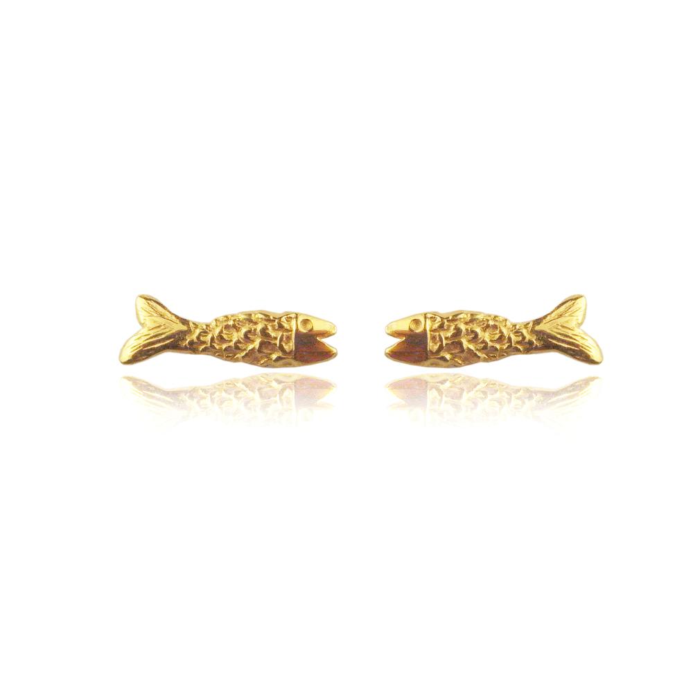 Micro fish earrings gold