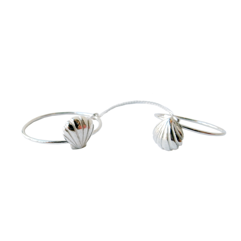Double shell ring silver