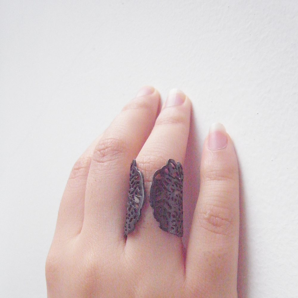 Momocreatura: Coral ring black silver | Jewelry > Rings -  Hiphunters Shop