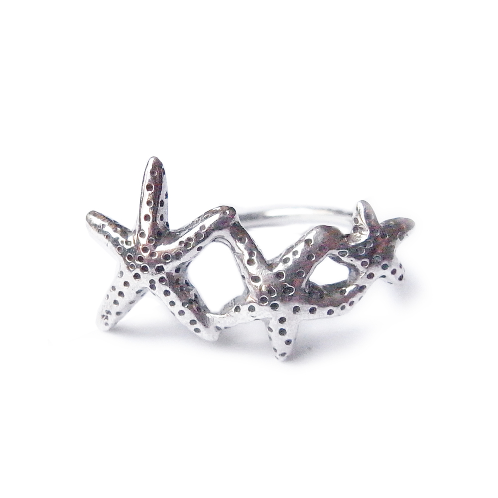 Star fish ring silver