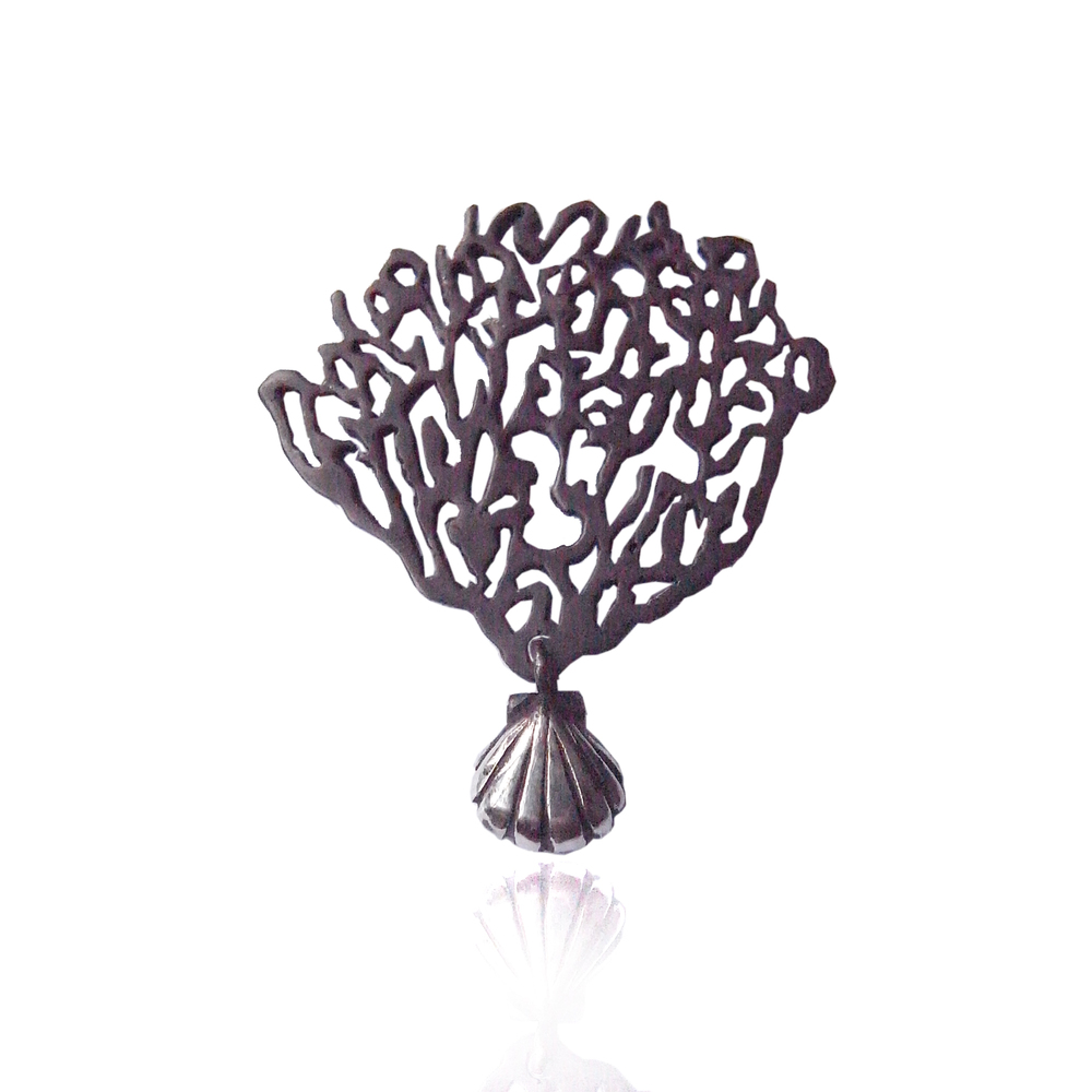 Black coral & shell single earring silver