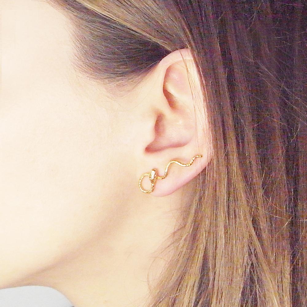 Momocreatura: Wavy Snake Earrings Gold Vermeil | Jewelry > Earrings -  Hiphunters Shop