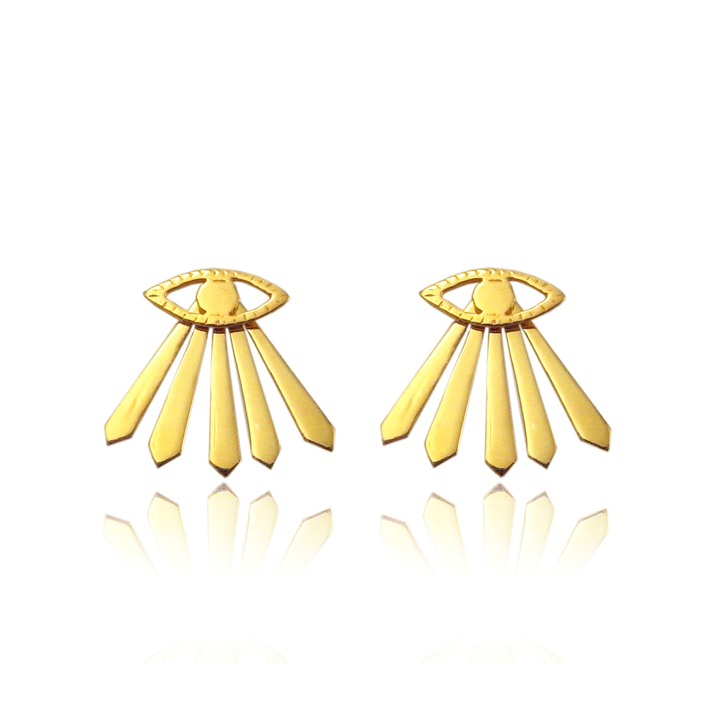 Eye and ray earrings gold vermeil
