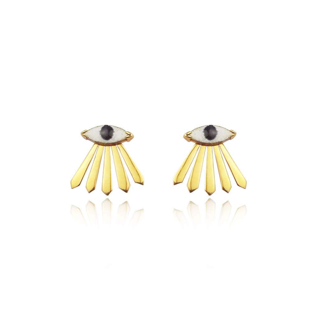 Momocreatura: Enamel eye and ray earrings gold | Jewelry > Earrings -  Hiphunters Shop